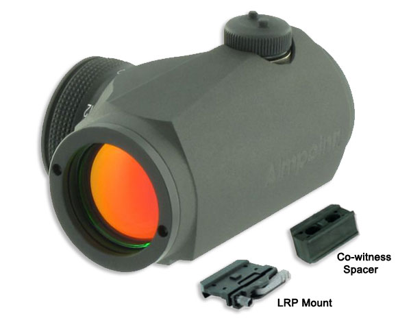 Aimpoint T-1 Micro 2 MOA Dot W/LRP Mount and Co-witness Spacer - Click Image to Close