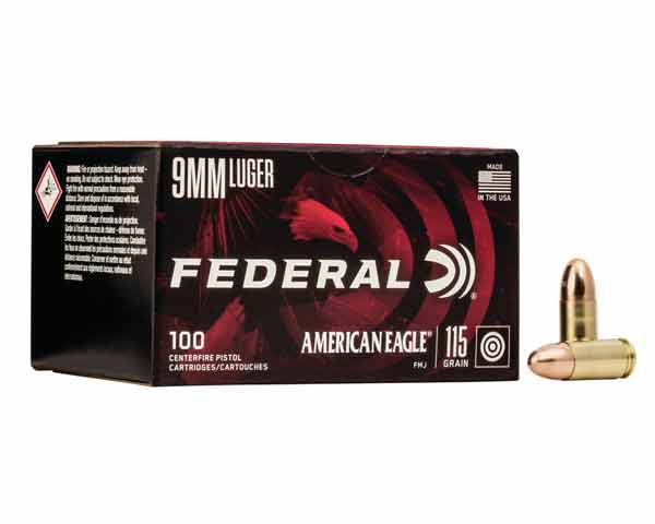 Federal 115 Grain 9MM FMJ AE9DP100 (500 round case)