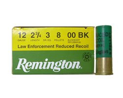 "Remington 12 Ga 9 Pellet 00 Law Enforcement Reduced Recoil Buckshot 2 3/4""(250 Round Case)"