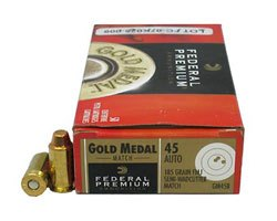 Federal .45 cal 185 Gr. Gold Medal Match 1,000 Round Case